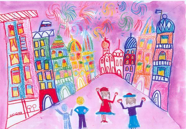 Рисунки город в празднике